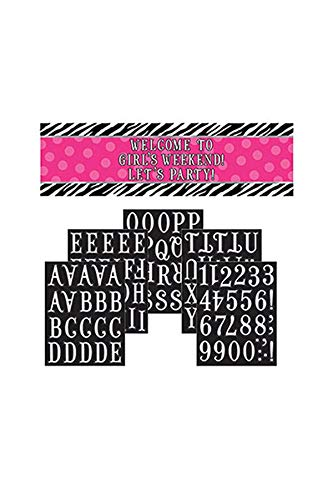 Pink Polka Dots and Black and White Zebra Print Giant Sign Banner Personalize It! Hanging Party Decoration (1 Piece), Multi Color, 65