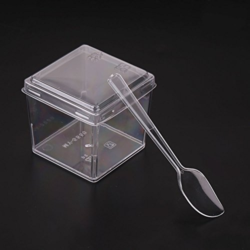 Kicode 1 Pack 5 oz Elegant Clear Mini Dessert Cups with Plastic Tasting Spoons and Secure Lids Mini Reusable Disposable Square Sample Cup