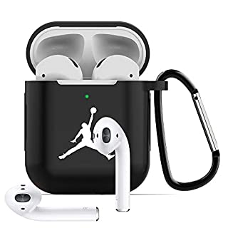 Tusztus Compatible for Airpods 2 & 1 Case Silicone Protective Cover [Front LED Visible] (Black-02) APC02