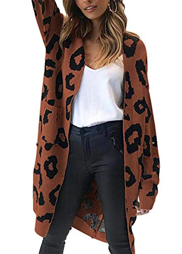 Sweater Knit Cardigan - BTFBM Women Long Sleeve Open Front Leopard Knit Long Cardigan Casual Print Knitted Maxi Sweater Coat Outwear with Pockets (Coffee, Medium)