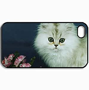 Personalized Protective Hardshell Back Hardcover For iPhone 4/4S, Kitten And Pink Flowers Design In Black Case Color