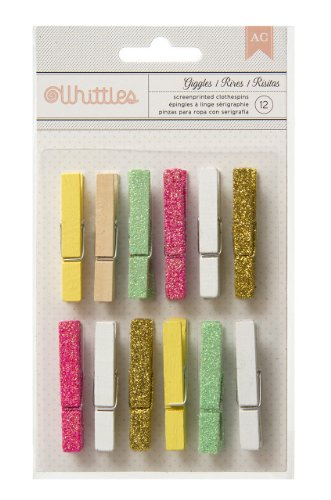 American Crafts 12 Count Whittles Charm Clothespins for Scrapbooking