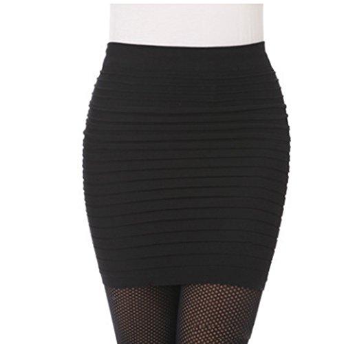 Couleur Femme de Jupe Courte de Mince Sauvage Hanche Noir Taille Paquet de FABA Jupe Grande Jupe UFwvqxq4