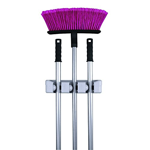 Magic Holder 3 Position Mop and Broom Holder, Floor Mop Holder, Broom Utility Holder, Storage Solutions and Organizers for Cleaning