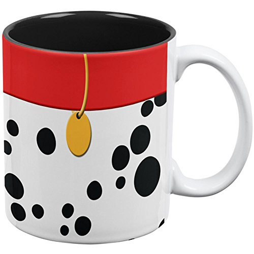 Dog Dalmatian Red Collar All Over Coffee Mug White-Black Standard One Size (Dalmatian Mug)