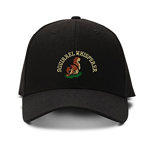 (Speedy Pros Squirrel Whisperer Embroidered Unisex Adult Hook & Loop Acrylic Adjustable Structured Baseball Hat Cap - Black, One Size)
