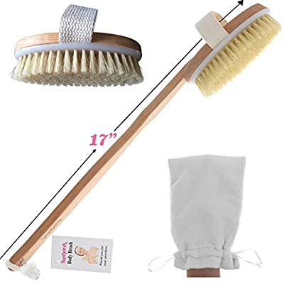 TopNotch Body Brush - Natural Boar Bristles - Long BeechwoodHandle - Bath Shower Brushes - Great Back Scrubber - Anti Cellulite - Dry Skin Brushing