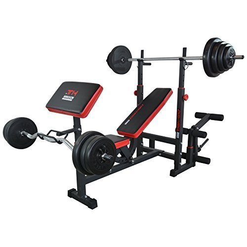 TrainHard Multifunktion Hantelbank Trainingsbank Kraftstation mit Lang- und Curlhantelset 50KG