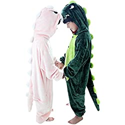 Duraplast Kids Dragon Costume Halloween Hooded Jumpsuit with Pockets Green