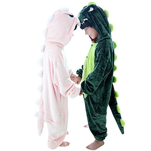 Duraplast Kids Dragon Costume Halloween Hooded Jumpsuit with Pockets Pink -