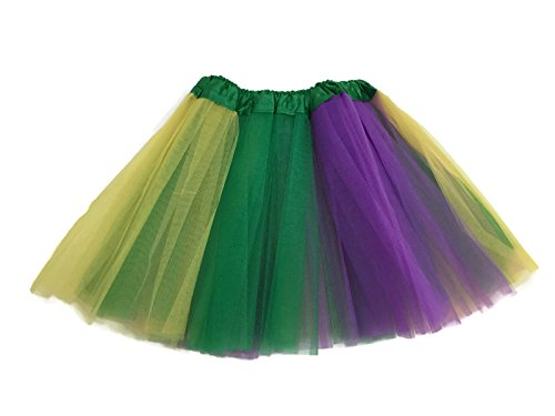 Irish Dancing Costumes For Girls (Rush Dance Colorful Kids Girls Ballerina Dress-Up Princess Costume Recital Tutu (One Size, Yellow, Kelly Green & Purple (Mardi Gras)))