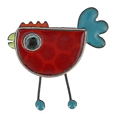 Les Poulettes Jewels - Brooche Pin's Red Enameled Hen