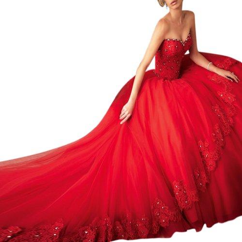 Ausschnitt Tüll Rot Hof Damen Herz Dearta Meerjungfrau Kleidungen Brautkleider Schleppe FTIRqnfx