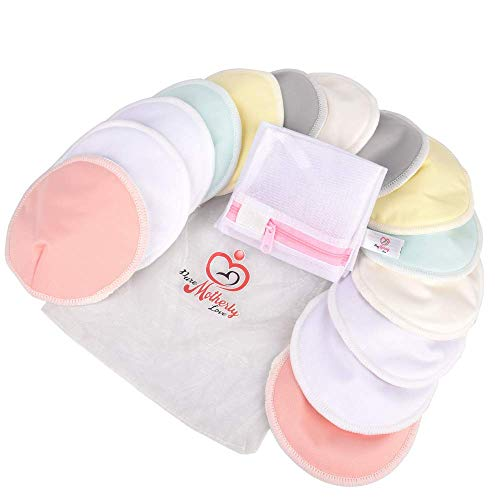 Pure Motherly Love Reusable Bamboo Nursing Pads |14 Pads+3 Bonus Items | Large Size (4.7 inches) | Soft & Super Absorbent | Leak-Proof | with Laundry & Organza Bags | Perfect Baby Shower Gift