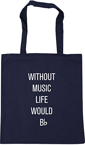 HippoWarehouse without music life would be flat Tote Shopping Gym Beach Bag 42cm x38cm, 10 litres French Navy