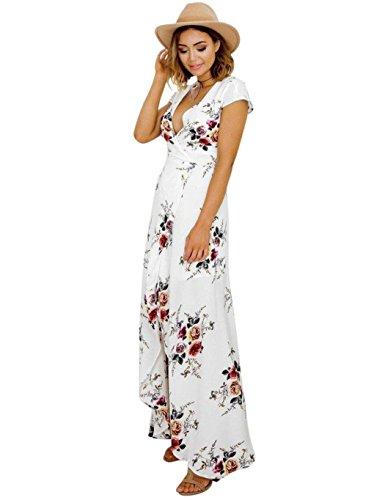 Renflements Robe À Manches Courtes Pour Les Femmes Profonde Des Femmes Tenue Décontractée Cou V Robes De Soirée Été La Mode Plage De Sable Blanc