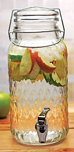 Circleware 69117 Glass Beverage Drink Dispenser Jar with Hermetic Locking Lid Clear, for Water, Juice, Kombucha, Beer and Iced Tea, 1 gallon by Circleware (Image #1)