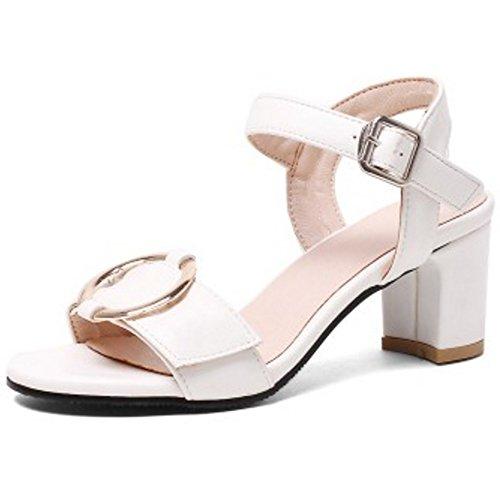 TAOFFEN Mujer Moda Punta Abierta Sandalias Tacon Ancho Tacon Medio Al Tobillo Zapatos Blanco