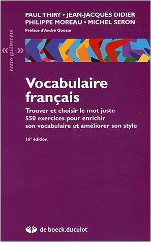 Amazon Fr Vocabulaire Francais Paul Thiry Jean Jacques