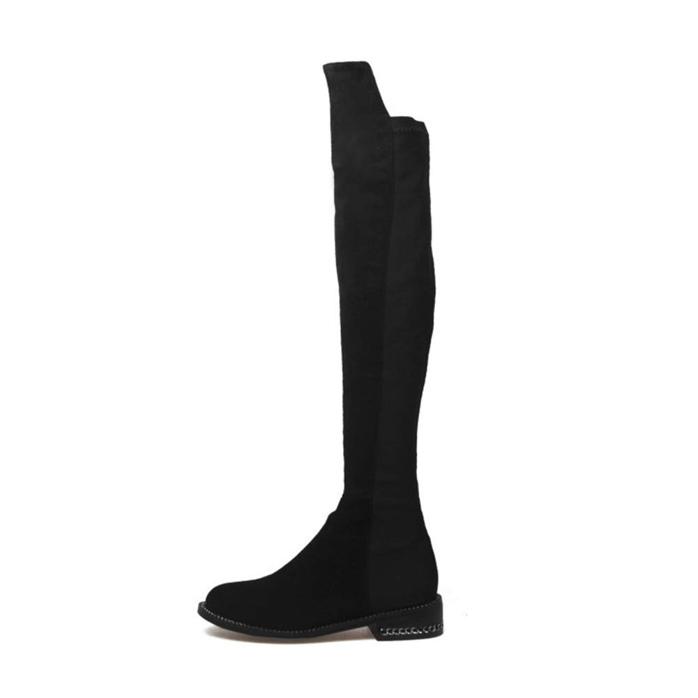 WHL.LL Frauen Runder Kopf Über Den Kniestiefeln Mode Flacher Absatz Metall-Reißverschluss Stretch-Stiefel Pendeln Büro Hohe Stiefel (Absatzhöhe  3,5 Cm)