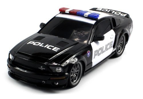 XQ TOYS 1184P, Licensed Mustang Shelby GT500 Super Snake Police Electric RC Car 1: 18 RTR, Black/White