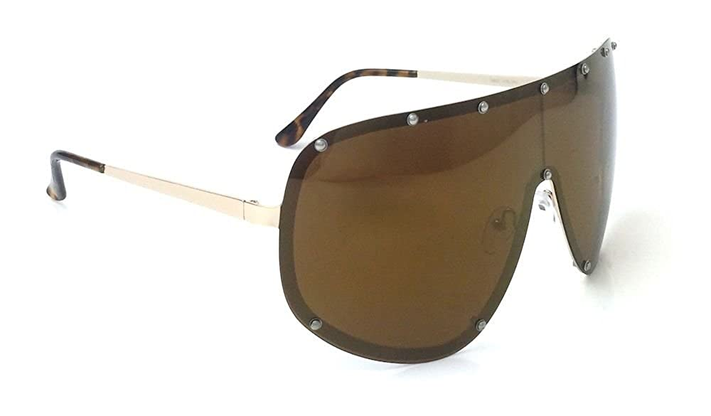 b1b64a223d7ea Amazon.com  Oversized XXL Huge Large Shield Wrap Designer Womens Polarized  Sunglasses (Brown)  Clothing