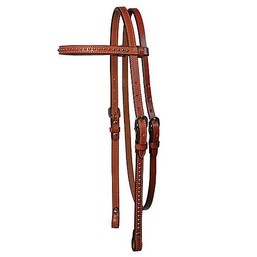 Circle Y 5/8in Browband Spot Accents in Walnut Circle Y Leather Saddle