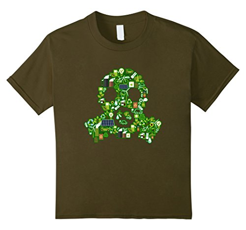 Green Day Gas Mask (Kids Save the Planet! Recycle Icons Gas Mask T-Shirt 6 Olive)