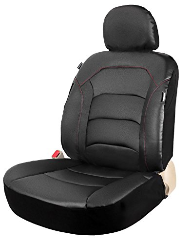SS Vinyl Universal One Black Leather Bucket Seat Cover for Car Low Back or High Back Front Seats Airbag (High Back Buckets Part)