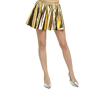 WOLF UNITARD Women's Shiny Metallic Liquid Pleated Skirt
