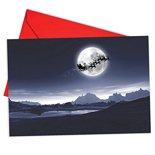 12 'Sleigh Moon Horizontal' Christmas Cards with Envelopes 4.63 x 6.75 inch, Santa Claus Riding Across the Moon Holiday Notes, Pretty Christmas Cards, Moonlit Santa Holiday Cards B6713FXSG]()