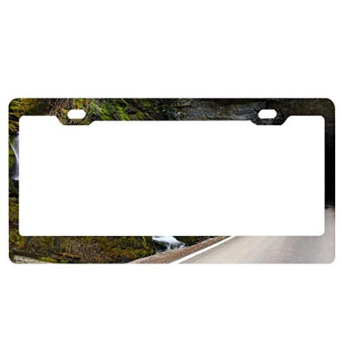 Waterfall Tunnel On Moon Pass Road Custom License Plate Frame for US Army, Black License Plate Holder, Aluminum Metal Car Tag Frame Cover for US Vehicles, 2 Holes and Screws