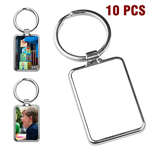 (O BOSSTOP 10PCS Sublimation Blanks Keychains Metal Round Key Rings for Heat Press Rectangle)