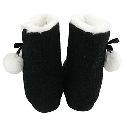 Casa Pantofola Donna Morbido Pile Caldo Peluche Casa Coperta Stivali Scarpe Nere / Pom-pom