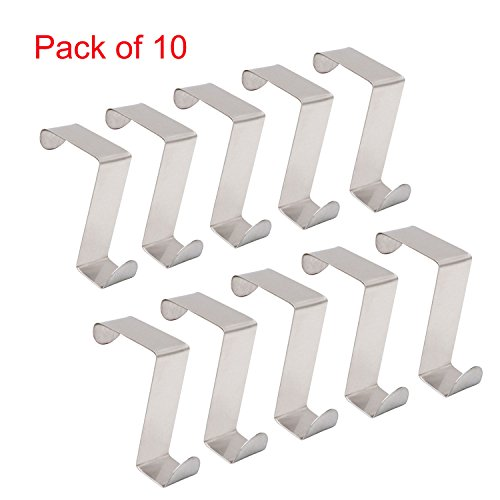 Over the Door Hooks Set of 10 Pack Stainless Steel, Unlimited Over-the-Door Hook Rack Heavy Duty for Hanging Coat,Hat and Bath Towel,Space Saving Organizer - Behind Door Hat Rack