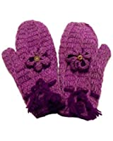 Handknitted Soft Wool Purple Flower Design Fleece Lined Mittens - Fair Trade - 100 % Wool