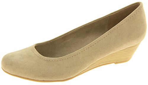 de Tozzi la la los cuña Taupe del bajos de efecto madera de talones Mujer Marco Zapatos qHYgAwUBU