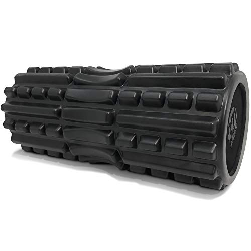 321 STRONG Foam Roller - Extra Firm High Density Deep Tissue Massager with Spinal Channel, for Muscle Massage and Myofascial Trigger Point Release, with 4K eBook - Black