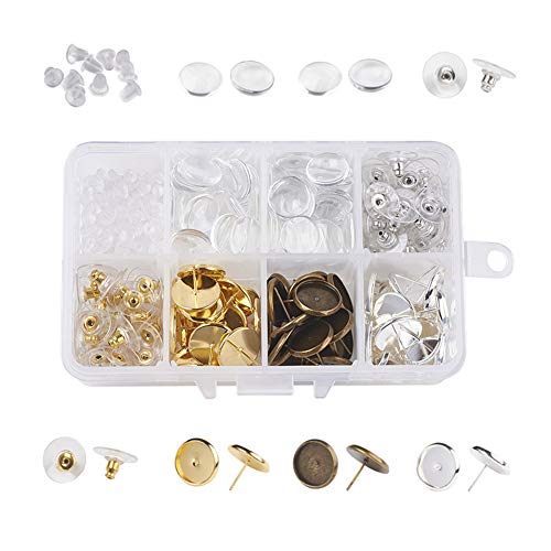 Kissitty 12mm 3 Colors Blank Bezel Tray Earring Set Post Cup Cabochon Stud Earrings with Transparent Clear Glass Cabs Earnuts 310pcs Earring Making Findings Starter Kit