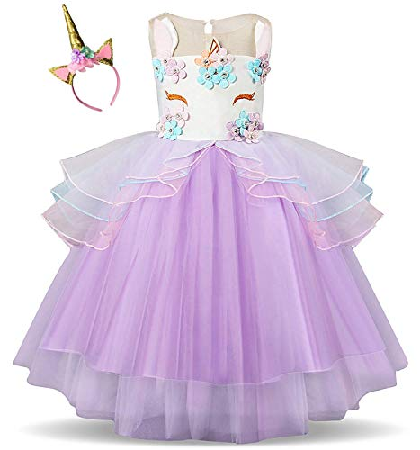 Kokowaii Fancy Girls Unicorn Pageant Party Dress Tutu Costume -