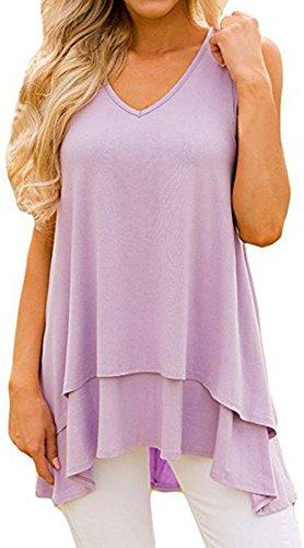 Top Hem Handkerchief - Kuraki Women's Sleeveless V Neck Cotton Blend Shirt Layer Tank L Purple