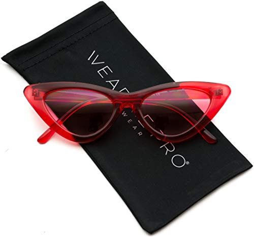WearMe Pro - Retro Vintage Tinted Lens Cat Eye Sunglasses (Clear Red Frame/Tinted Pink Lens, 51)