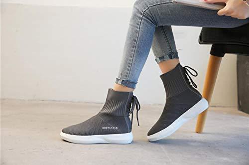 elásticos de Lucdespo Medias Señoras Calzado Hip Botas Zapatos Deportivo Calcetines Casuales Hop Punto Transpirables gris de Calcetines BIHBO