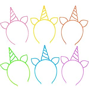 18 Pack Unicorn Headbands Party Favors Supplies Cat Ear Headbands Girls Plastic Horn Hairbands for Cosplay Party…