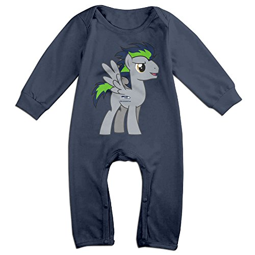 Price comparison product image PCY Newborn Babys Boy's & Girl's Seattle Pony Seahawks Long Sleeve Baby Climbing Clothes For 6-24 Months Navy Size 6 M