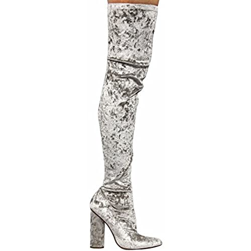 0f091d10d46 ... Knee Block Heel Boot Lite Grey. high-quality Cape Robbin Paw-27 Crushed  Velvet Stretchy Pointy Toe Thigh High Over