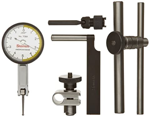 Starrett 708ACZ Dial Test Indicator with Attachments, Dovetail Mount, White Dial, 0-5-0 Reading, 1.375