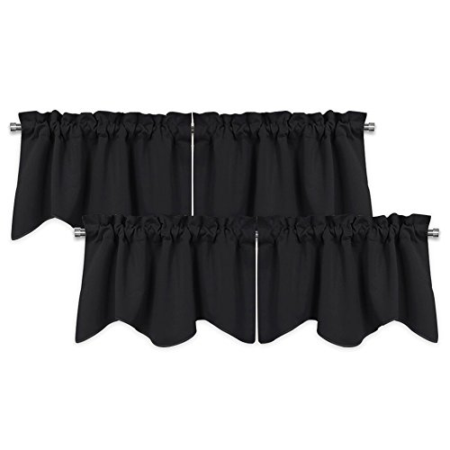 PONY DANCE Kitchen Valances Tiers - Scalloped Window Curtains Set Rod Pocket Blackout Half Curtain Covering Light Block for Bathroom/Laundry, 42