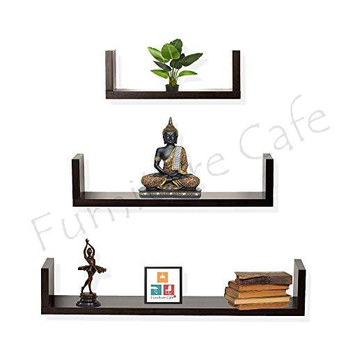 Furniture Cafe U Wall Shelf/Racks and Shelves for Living Room Kitchen/Book/Home Decor Set of 3 (Walnut Finish, Brown)