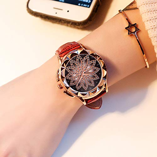 Grass 135 Luxury Brand Rose Gold Women Watch Fashion Casual Crystal Dress Wristwatch Leather Strap Quartz